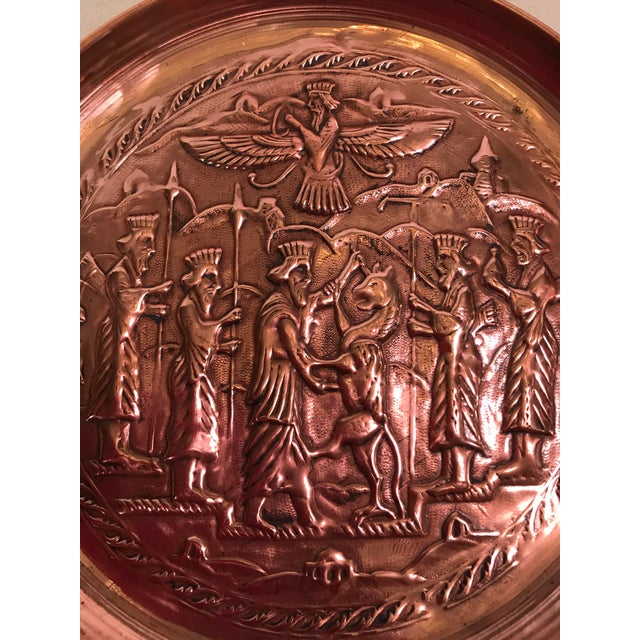 Copper Mid-Century Hanging Etched Copper Plate For Sale - Image 7 of 7