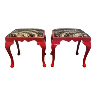 Updated Queen Anne Stools- A Pair For Sale