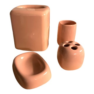 1980's Andre Richard Blush Pink Bathroom Accessories - Set of 4 For Sale