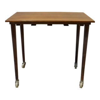 Poul Hundevad Rectangular Side Table on Wheels For Sale