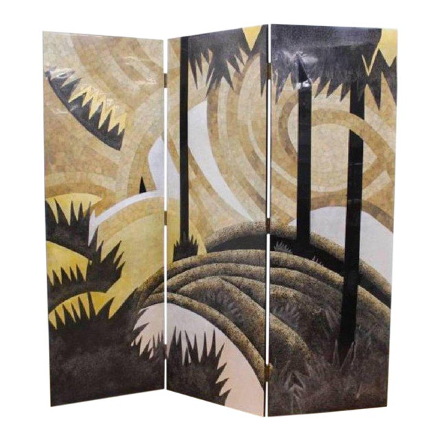 Art Deco Style Egg Shell Lacquer Three-Panel Screen in the Manner of Jean Dunand For Sale