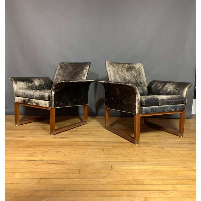 Pair of Danish 1960s Faded Black Leather Lounge Chairs For Sale - Image 13 of 13