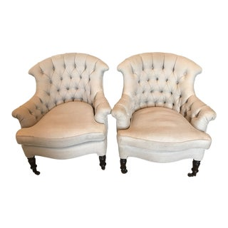 Contemporary Linen Upholstered Tufted Club Chairs - a Pair For Sale