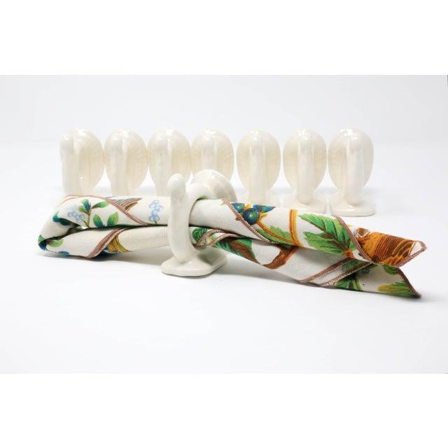 Ceramic Vintage Handmade Ceramic Turkey Napkin Rings - Set of 8 Thanksgiving Tableware For Sale - Image 7 of 13