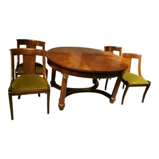 Extendable French Empire Style Mahogany-Burr Dining Set For Sale