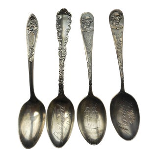 Antique Solid Sterling Silver Souvenir Spoons of Portland, Oregon, Moclips and Ellensburg Washington With Yakama Indians Nancy and Toby - Set of 4