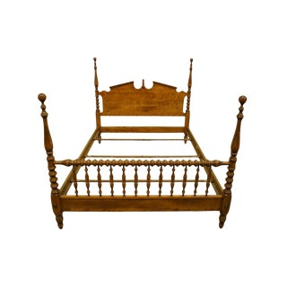 Ethan Allen Heirloom Nutmeg Maple Colonial Style Four Poster Full Size Bed For Sale