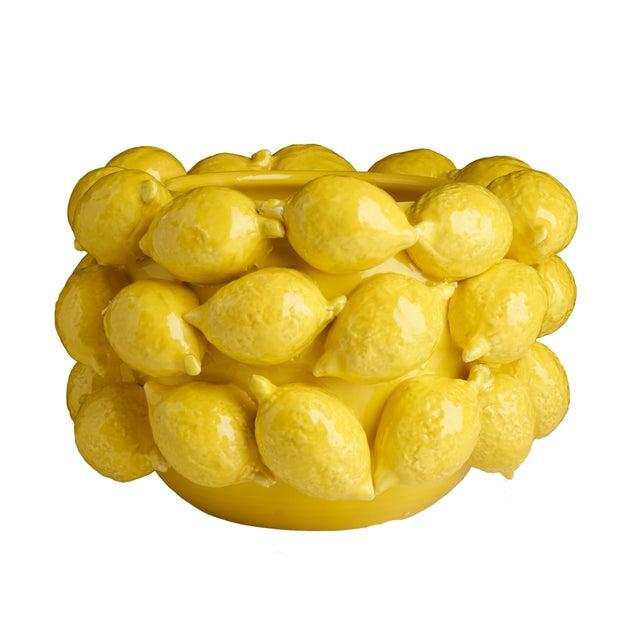 Contemporary Ceramic Lemon Planter, Yellow For Sale - Image 3 of 3