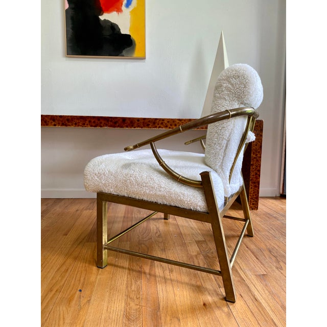 Brass Vintage Mastercraft Brass Empress Lounge Chair in Faux Shearling For Sale - Image 8 of 10