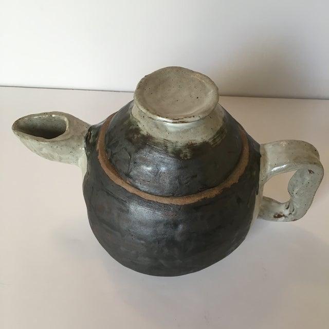 Brown Large Primitive Handmade Tea Pot For Sale - Image 8 of 11