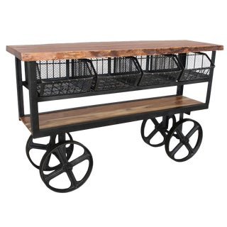 Slab Wood & Iron Trolley