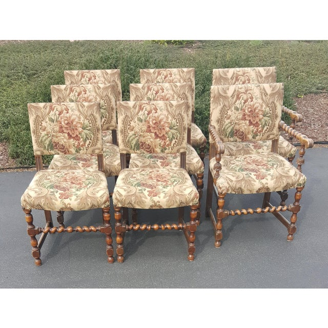 1940s Vintage Upholstered Dining Chairs- Set of 8 For Sale - Image 12 of 13