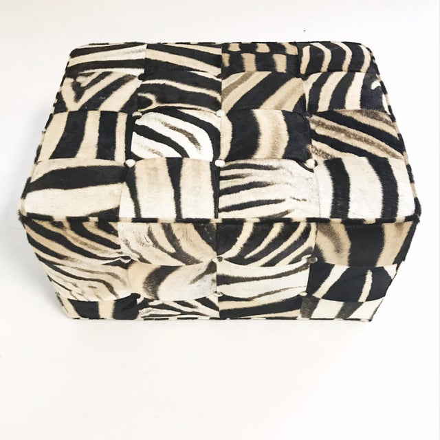 2010s Forsyth One of a Kind Patchwork Zebra Hide Ottoman For Sale - Image 5 of 8