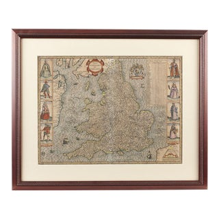 John Speed (1552-1629) The Kingdome of England -1610 Map For Sale