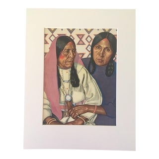 """1935 Vintage """"Double Steel and Two Cutter"""" Winold Reiss Blackfoot Native American Portrait For Sale"""