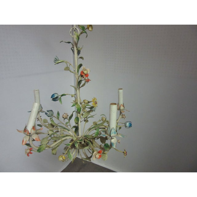 Metal 1950s Italian Tole Chandelier With Multi-Color Flowers For Sale - Image 7 of 7