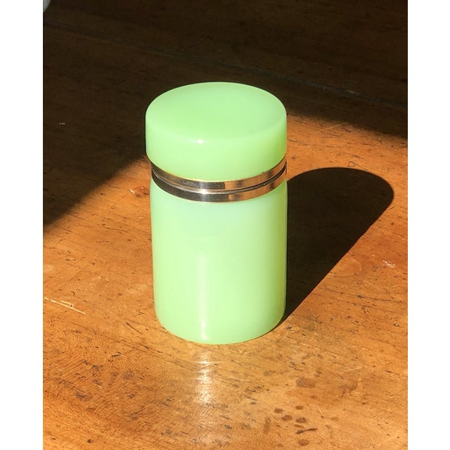 Green Cylindrical Opaline Glass Vase For Sale - Image 6 of 7
