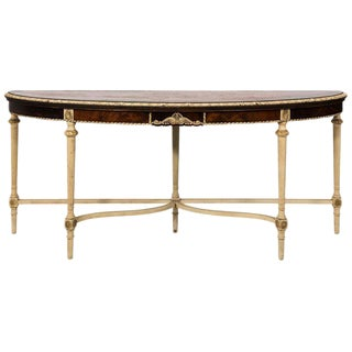 20th Century Louis XVI Style Painted Demi Lune Table For Sale