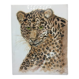 Hand Painted Cheetah Tile, Signed For Sale