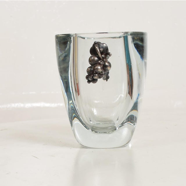 Art Deco Beautiful Strombergshyttan Thick Glass Vase With Silver Grapevine Accents For Sale - Image 3 of 10