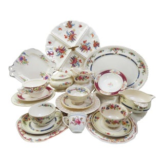 Vintage Mismatched China Dessert Set - 21 Pieces For Sale