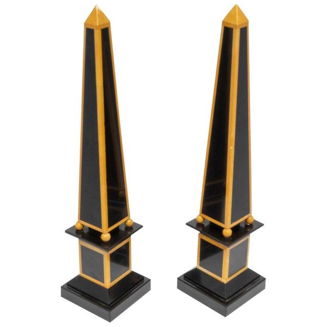 1920s Egyptian Revival Art Deco Marble Obelisks - a Pair For Sale