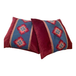 Vintage Needlepoint Velvet Pillows - a Pair For Sale