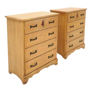 Pair of Monterey Chests of Drawers, Western Style, Hand-Painted, 1930s For Sale