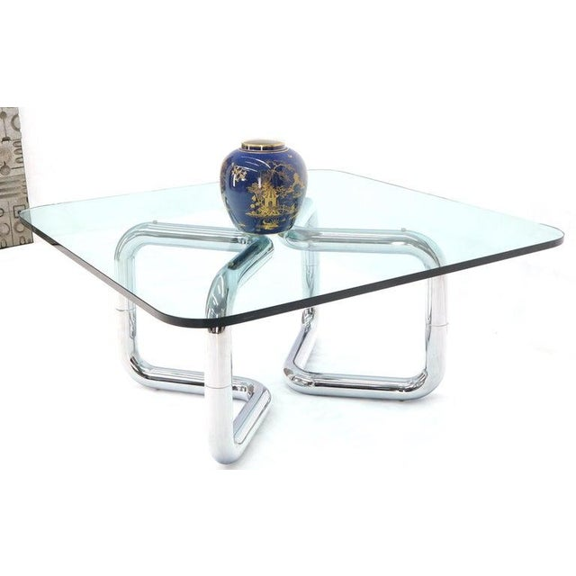 John Mascheroni Rounded Corners Square Coffee Table on Thick Bent Tube Chrome Base For Sale - Image 4 of 13