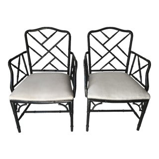 Vintage Hollywood Regency Faux Bamboo Chippendale Armchairs - a Pair For Sale