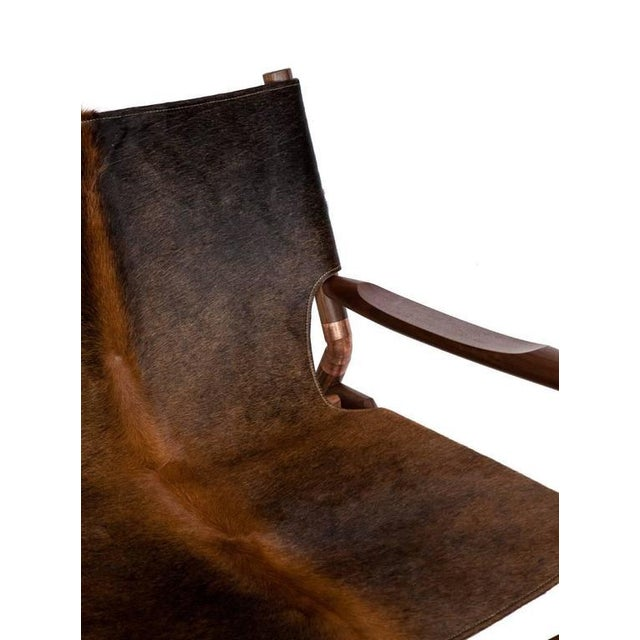 Copper Customizable Erickson Aesthetics Slung Brindle Walnut Lounge Chair For Sale - Image 7 of 7