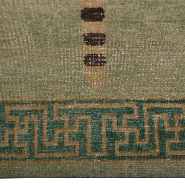 Shabby Chic Rug & Kilim's Homage Pictorial Tiger Orange Black and Green Wool Custom Rug For Sale - Image 3 of 7