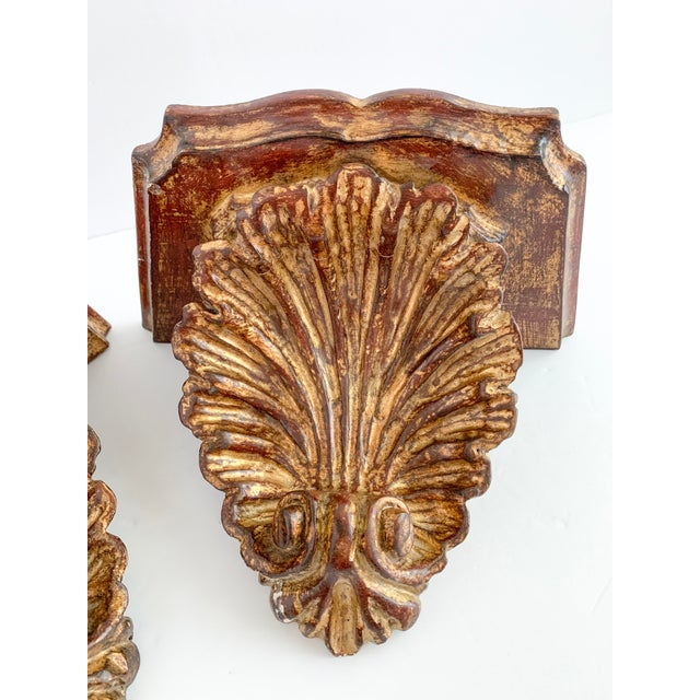 Florentine Vintage Florentine Style Gilt Carved Wood Wall Shelf Sconce - a Pair For Sale - Image 4 of 8