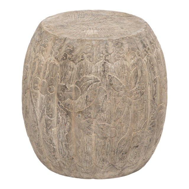 Chinese Floral Melon Drum Stool For Sale