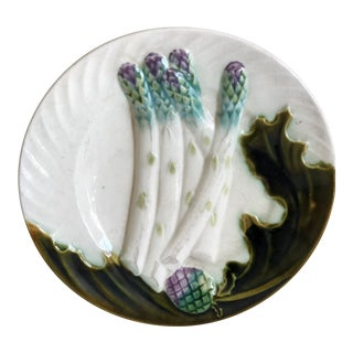 Antique French Majolica Salins Asparagus Artichoke Plate For Sale