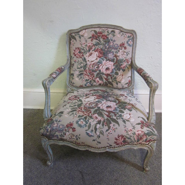 Stoneleigh Ltd. Beautiful French Louis XV Fauteuil living room chair & ottoman. High quality, paint decorated, Louis XV...