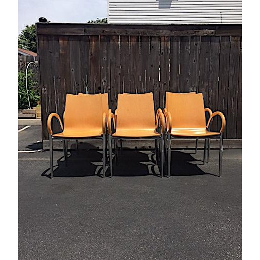 Set of 6 Bentwood and Chrome Lowenstein Dining Chairs. Great, classic design. Very comfortable. The chairs show age...