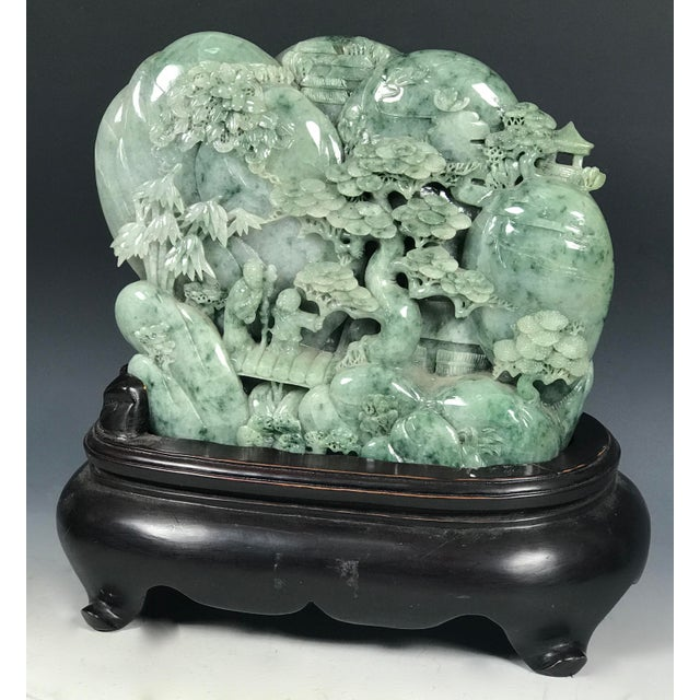 Chinese Art Carved Green Jade Mountain With People - Image 4 of 11