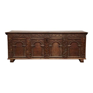 Early 18th Century Danish Carved Trunk For Sale