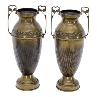 Mid 20th Century Bronze Bohemian Double Handle Urn Shape Vases - a Pair For Sale