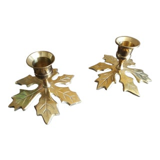 1950s Art Deco Brass Leaf Candle Holders - a Pair