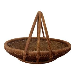 Vintage Rattan Triple Handle Boho Chic Basket For Sale