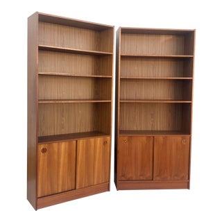 Pair Vintage Danish Modern Teak Bookcases For Sale