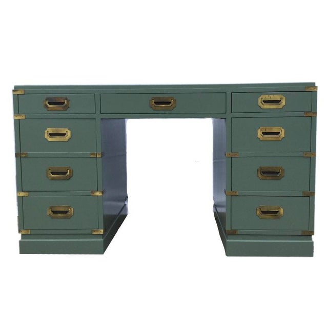 Mid 20th Century Vintage Green Campaign Style Desk with Leather Top For Sale - Image 5 of 5