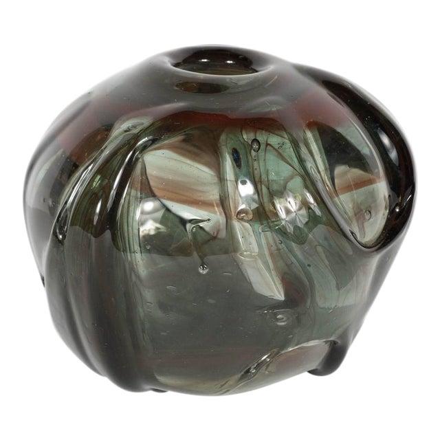 Mid-Century Modernist Handblown Smoked Tourmaline / Cinnabar Murano Glass Vase For Sale