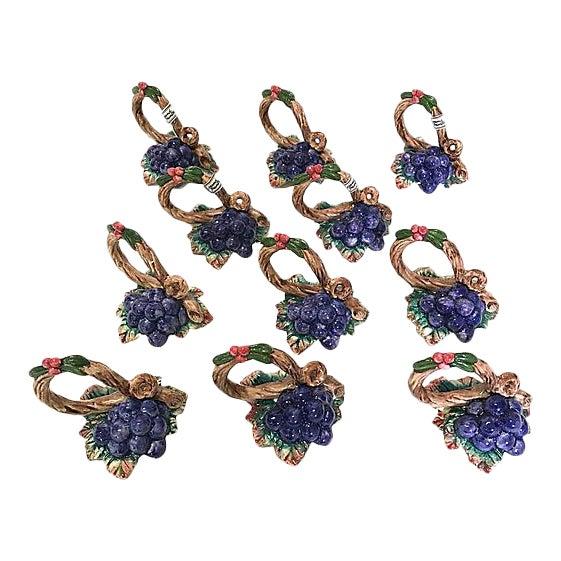 Fitz & Floyd Grapevine Napkin Rings - Set of 11 For Sale