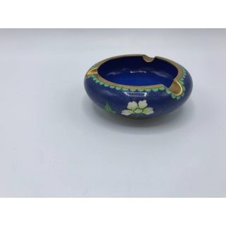 1960s Blue Cloisonné Ashtray With Brass Lip Preview