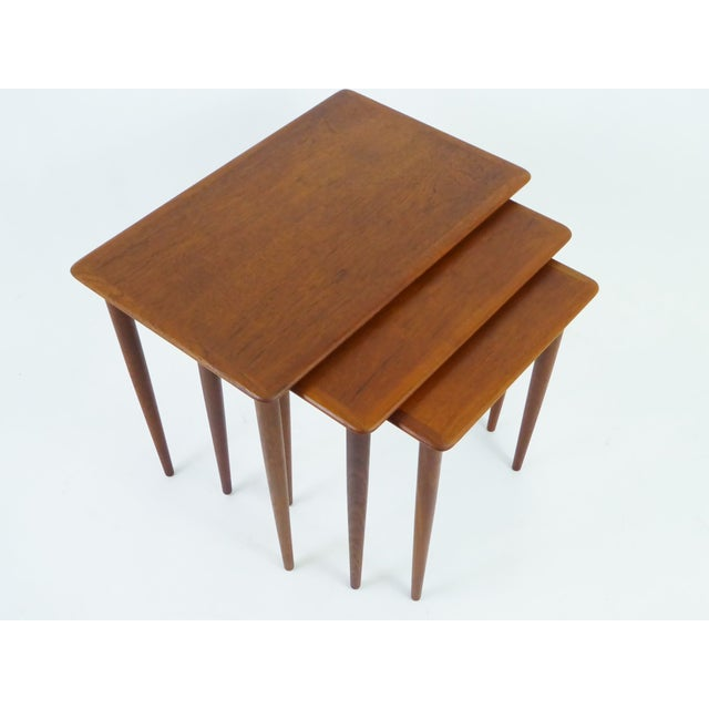 Danish Mid-Century Modern Stacking Nesting Tables in Teak - Set of 3 1950s For Sale - Image 12 of 13