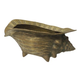Vintage Brass Sea Shell Planter For Sale