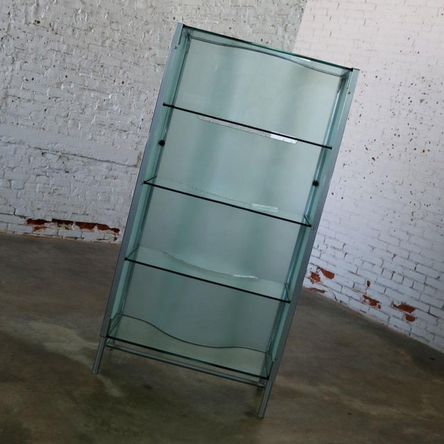 Modern Dual Sided Glass and Metal Enclosed Display For Sale - Image 4 of 13